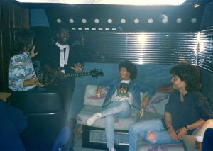 1989- Hanging out in an LA studio with (l-r) drummer Mike Baird, Randy Jackson, and Kevin Cronin of REO Speedwagon.